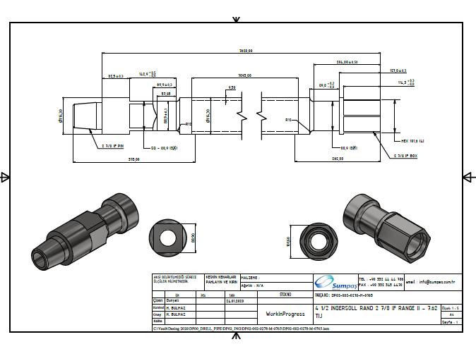 Ingersoll Rand Sondaj Tiji (Drill Pipe) / 4 1/2 INGERSOLL RAND 2 7/8 IF RANGE II - 7.62 TIJ